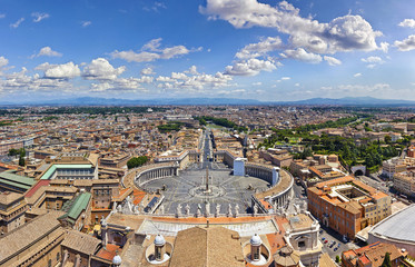 Panorama aerial view of Rome from Saint Peter's Basilica