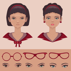 eye , lips and hair, face parts, head character