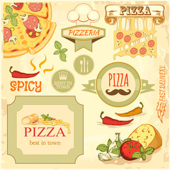 pizza slice, ingredients background,  box label packaging design