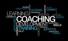 "Постер, картина, фотообои ""Coaching development training words tag cloud video illustration"""