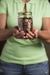 Jar with American Pennies. Tips or Savings.