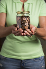 Jar with American Pennies. Tips or Savings.