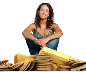 Young woman sitting on gold