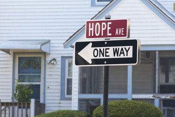 Hope Avenue and One Way Traffic Sign