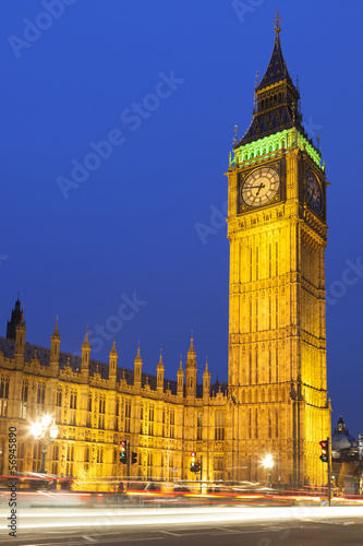 Big Ben illuminated at night, London