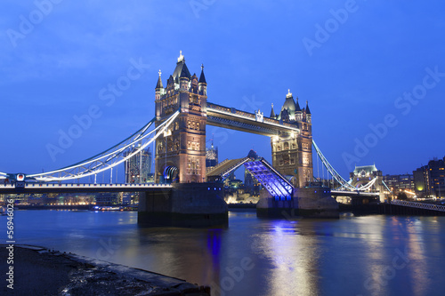 Tower Bridge at night, London.