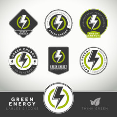 Quality set of green energy labels and badges