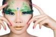 beautiful women with perfect art make up and long false eyelashe