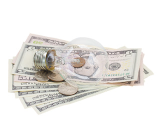 common  lamp bulb on dollars