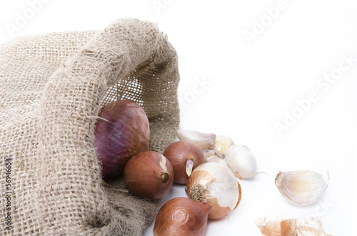 Onions and garlic in the bag