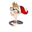 Businessman, santa hat, pointing, explaining, wall