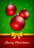 Christmas decoration baubles and golden bow, vector illustration