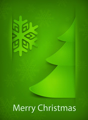 Christmas card, green tree on green background, vector