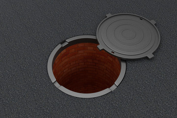 Open manhole on the asphalt