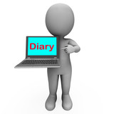Diary Laptop Character Shows Online Reminder Or Scheduler