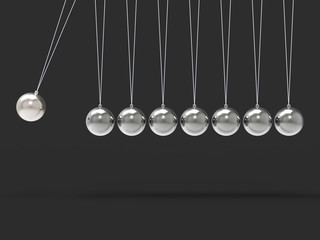 Eight Silver Newtons Cradle Shows Blank Spheres Copyspace For 8