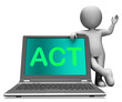 Act On Laptop Shows Motivation Inspire Or Performing