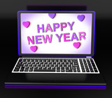 Happy New Year Laptop Message Shows Online Greeting