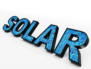 Solar Word Shows Eco Energy And Sunlight