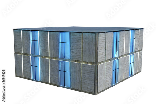 Modernes haus isoliert 3d render stock photo and for Modernes haus 3d