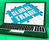 Global Trade Laptop Shows Worldwide International Business
