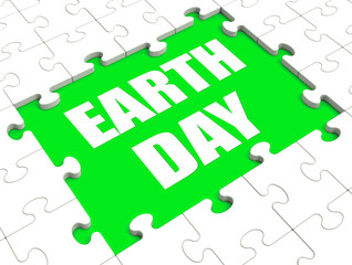 Earth Day Puzzle Shows Environment And Eco Friendly