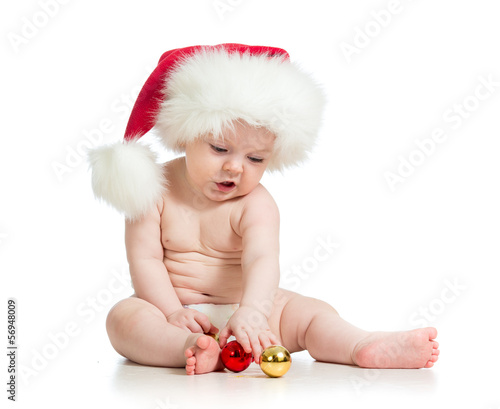 baby girl with Santa Claus hat