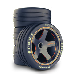 Slick wheels kit for race car