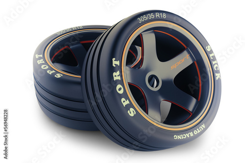Slick wheels lit for race car