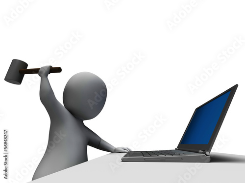 Hammer Hitting Computer Showing Angry With Laptop