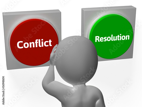 Resolution Conflict Buttons Show Fighting Or Arbitration
