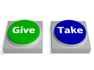 Give Take Buttons Shows Giving Or Taking