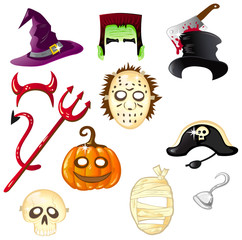 Halloween masks and hats