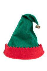 Green and red elf hat isolated on white background