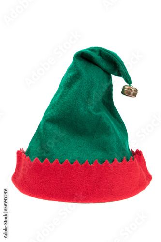 canvas print picture Green and red elf hat isolated on white background