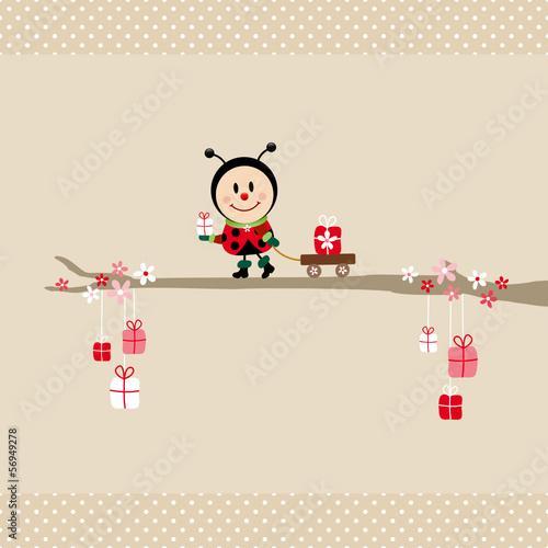 Ladybeetle Gift Pulling Handcart Tree Beige Dots