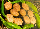 Grilled meatballs and peppers