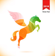 Vector isolated fantasy horse with vings. Pegasus. Year of horse