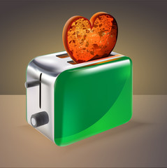 Toaster with heart shaped toast. Vector