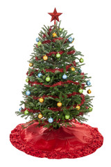 Christmas Tree Decorated isolated on white