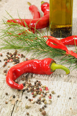 Red hot chilli peppers with basil oil