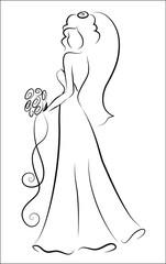 Силуэт невесты, фон, приглашение на свадьбу