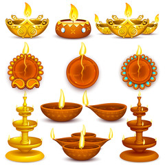 Collection of Diwali Decorated Diya