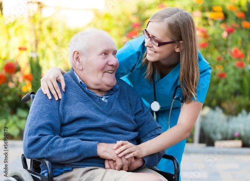 canvas print picture Helping an old man