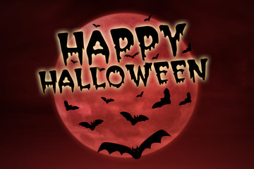 Happy halloween on red background