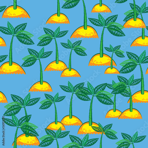 seamless pattern island with a palm tree
