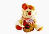 Cuddly Toy With Gold Christmas Boot poster
