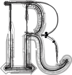 technological font. LETTER R