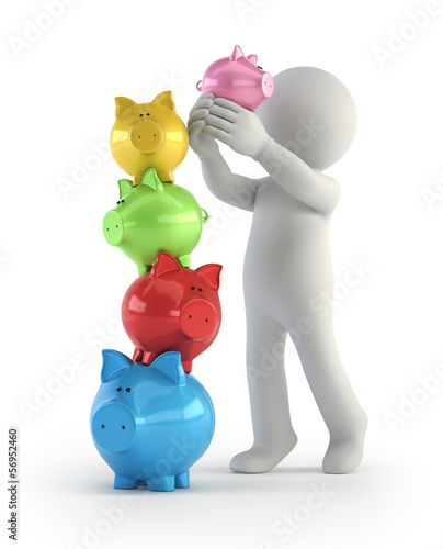 3d small people - balance piggy