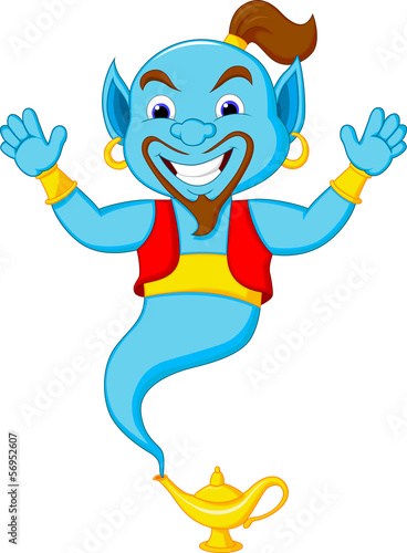 Friendly genie cartoon